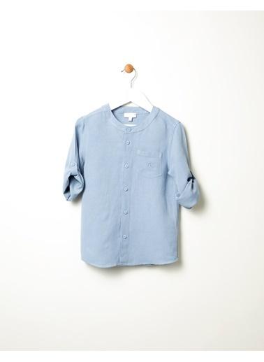 Pinolini Yakasız Keten Gömlek Mavi